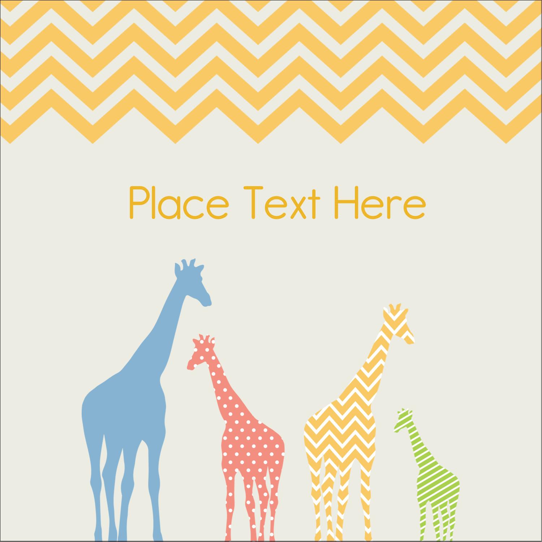 """1½"""" x 1½"""" Square Label - Giraffe Party"""