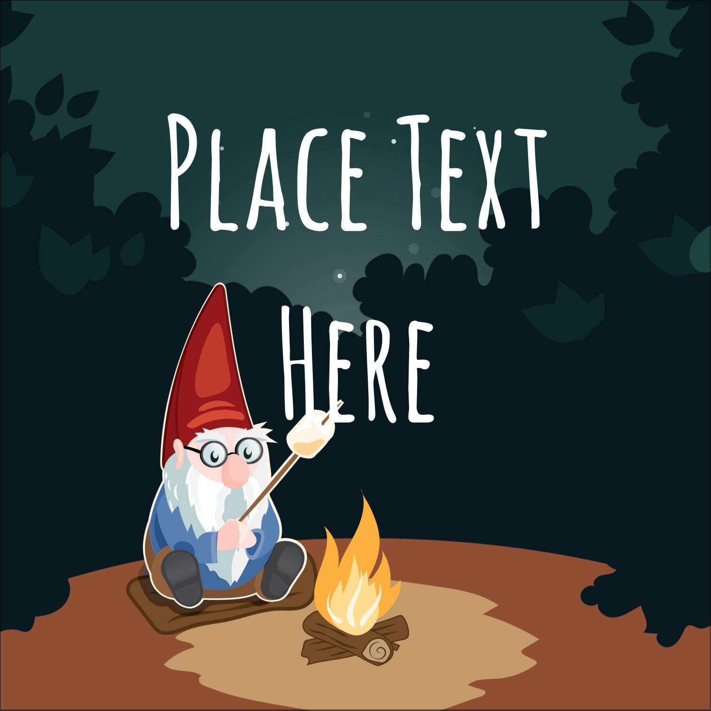 """1½"""" x 1½"""" Square Label - Gnome Camping"""