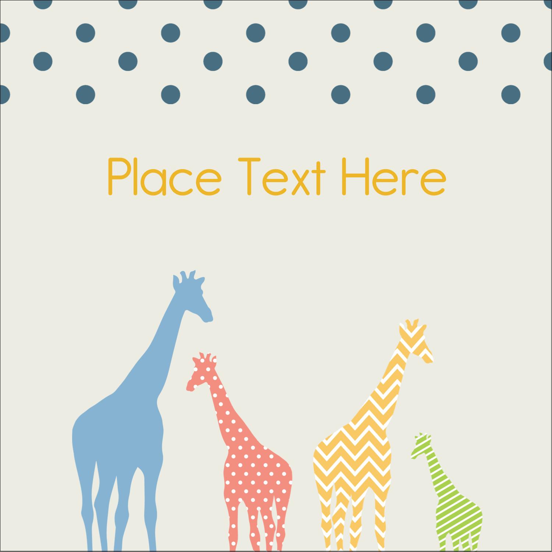 """2"""" x 2"""" Square Label - Giraffe Party"""