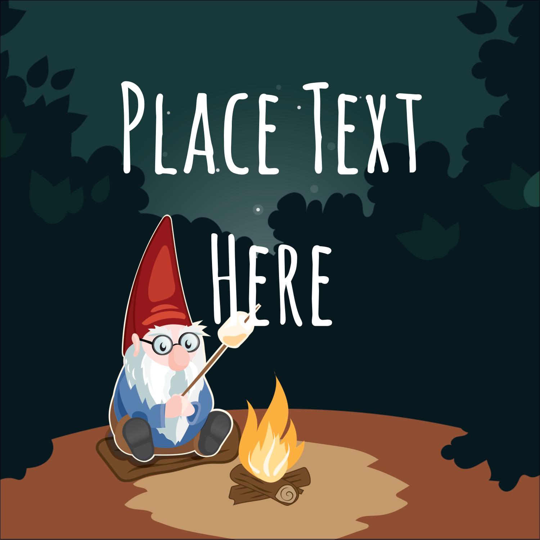 """2"""" x 2"""" Square Label - Gnome Camping"""