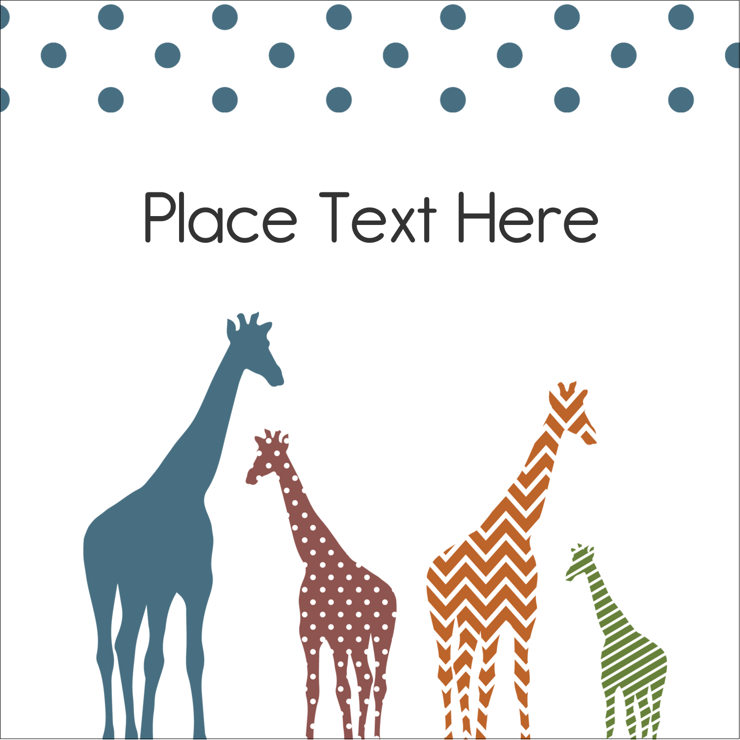"2"" x 2"" Sqaure Label - Giraffe Party"