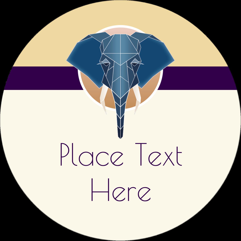 "2"" Round Label - Geometric Elephant"