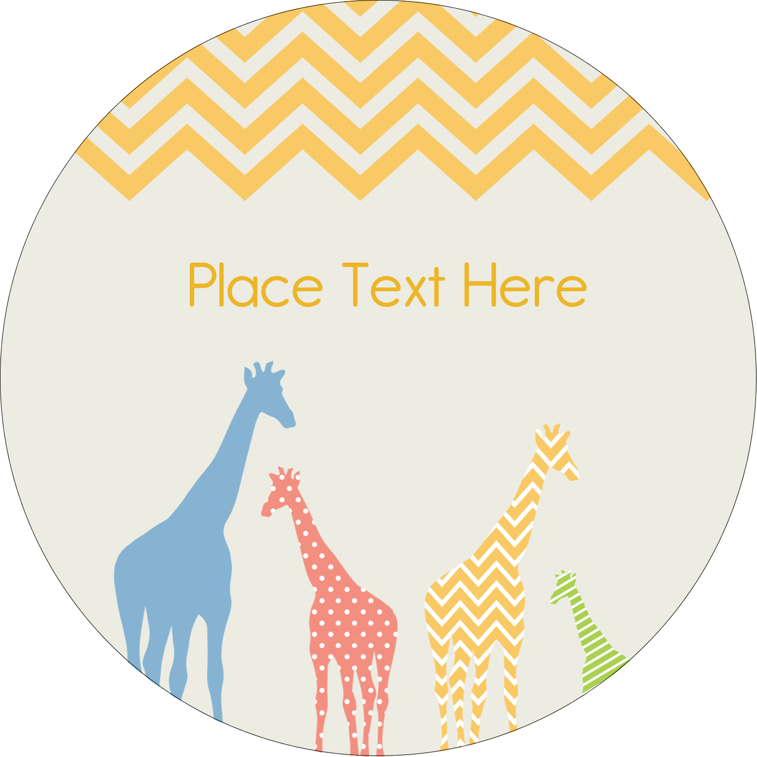 "2"" Round Label - Giraffe Party"