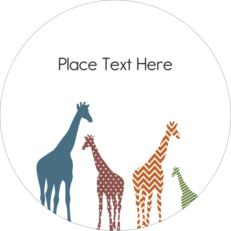 "2½"" Round Label - Giraffe Party"