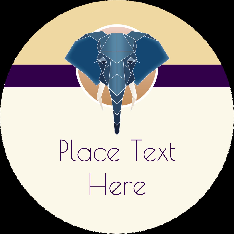 "2½"" Round Label - Geometric Elephant"