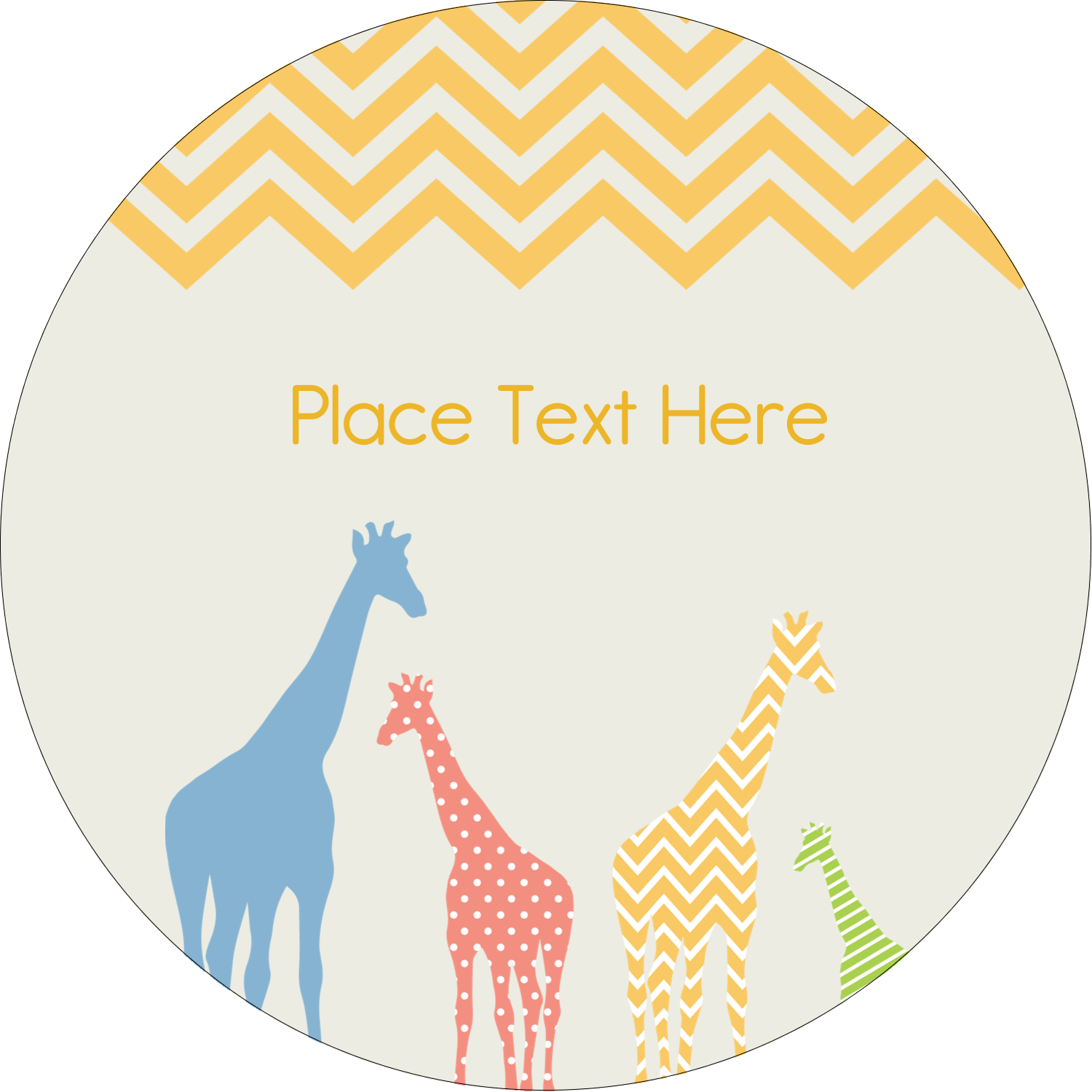 "2½"" Round Label - Giraffe Party"