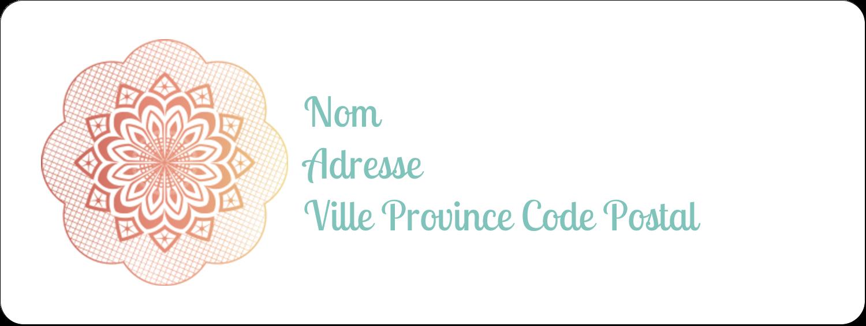 """1½"""" x 4"""" Étiquettes D'Adresse - Napperon géométrique"""