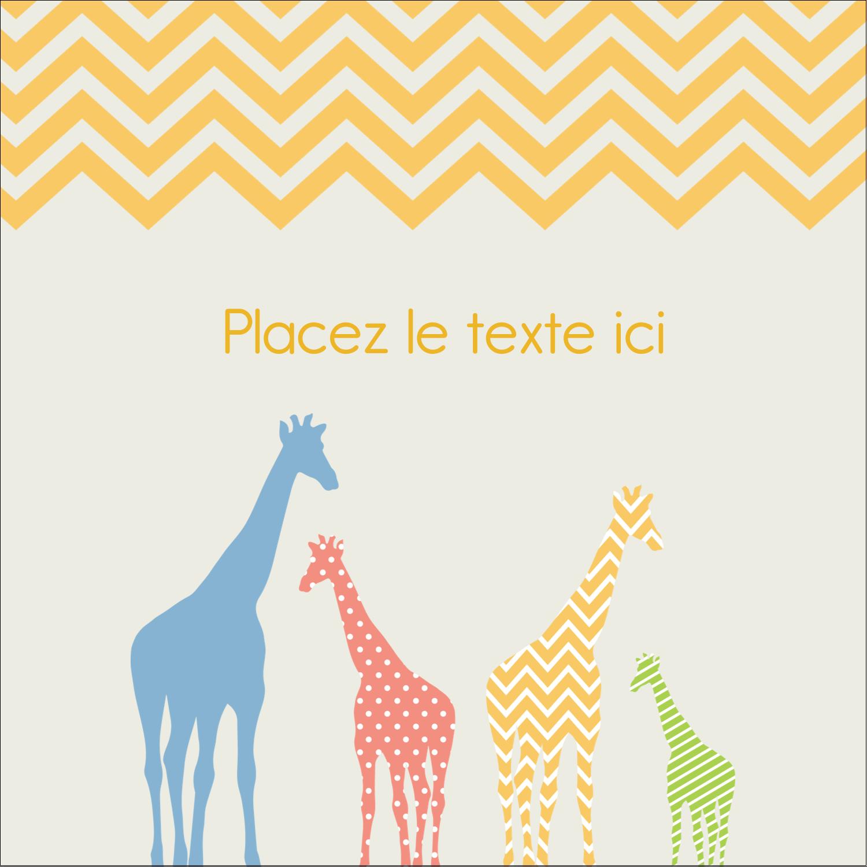 """1½"""" x 1½"""" Étiquettes carrées - Girafe en fête"""