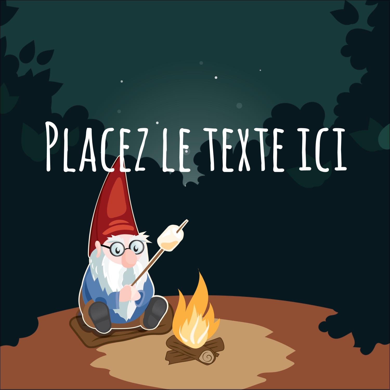"""2"""" x 2"""" Étiquettes carrées - Gnome en camping"""