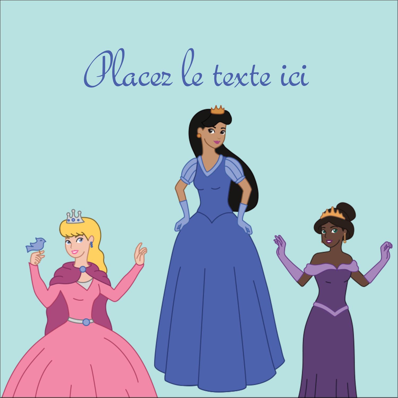 """2"""" x 2"""" Étiquettes carrées - Princesses"""