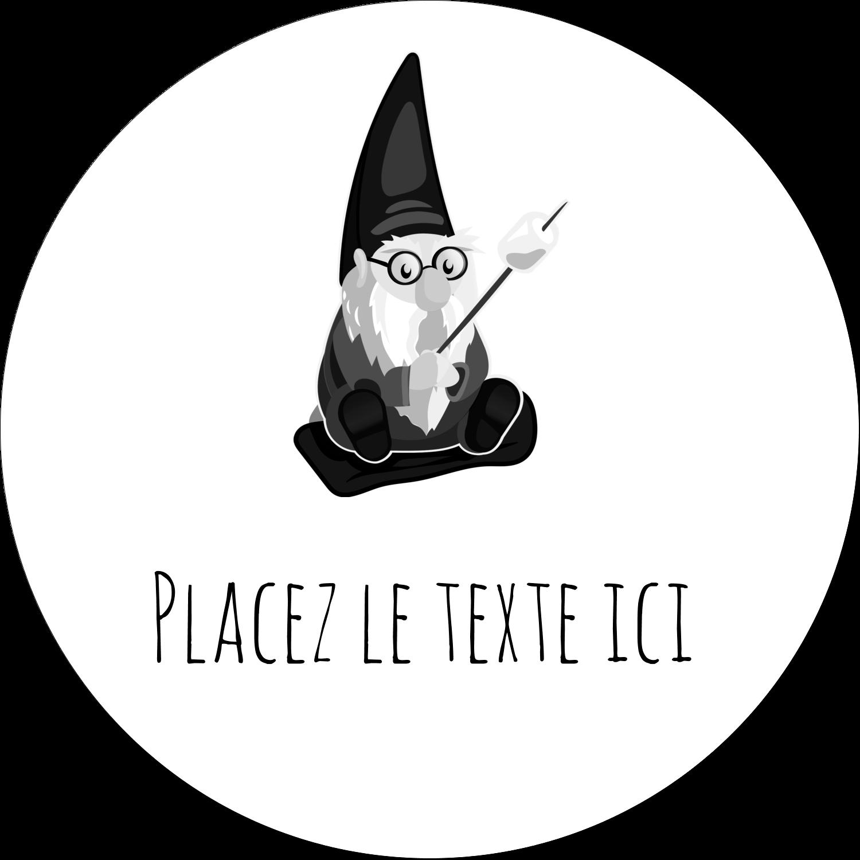 """3"""" x 2¼"""" Étiquettes arrondies - Gnome en camping"""