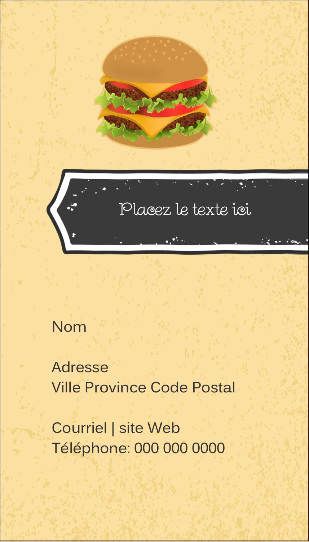 "3½"" x 2"" Carte d'affaire - Hamburger"