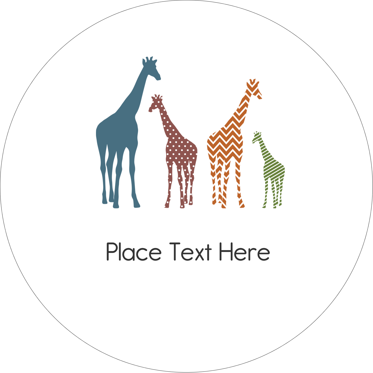 "2"" Embossed Round Label - Giraffe Party"