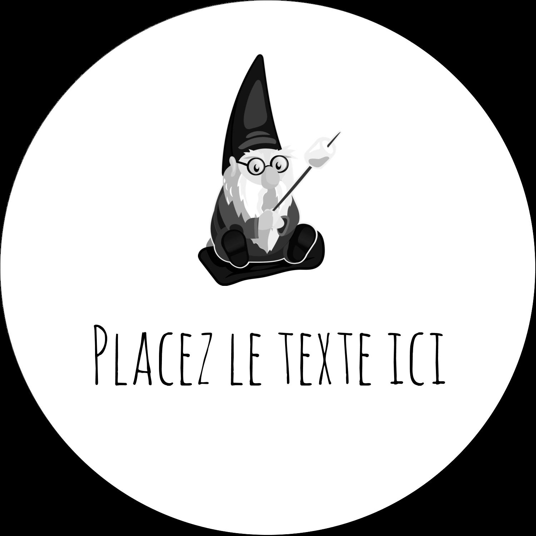 """4¾"""" x 3½"""" Étiquettes arrondies - Gnome en camping"""