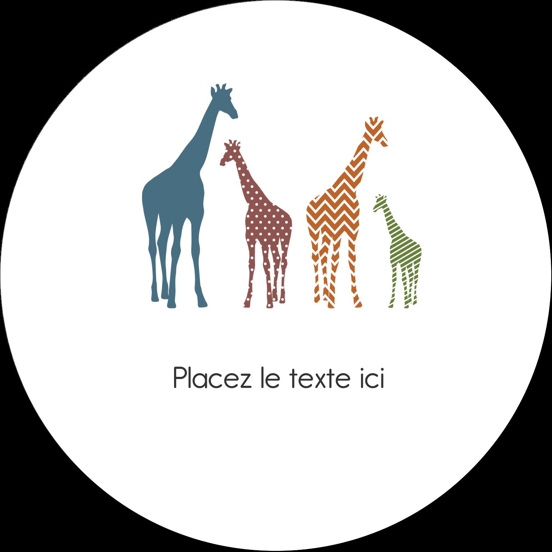 """4¾"""" x 3½"""" Étiquettes arrondies - Girafe en fête"""