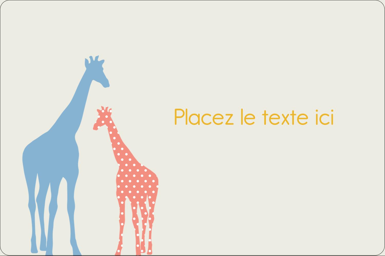 """3"""" x 3¾"""" Étiquettes rectangulaires - Girafe en fête"""