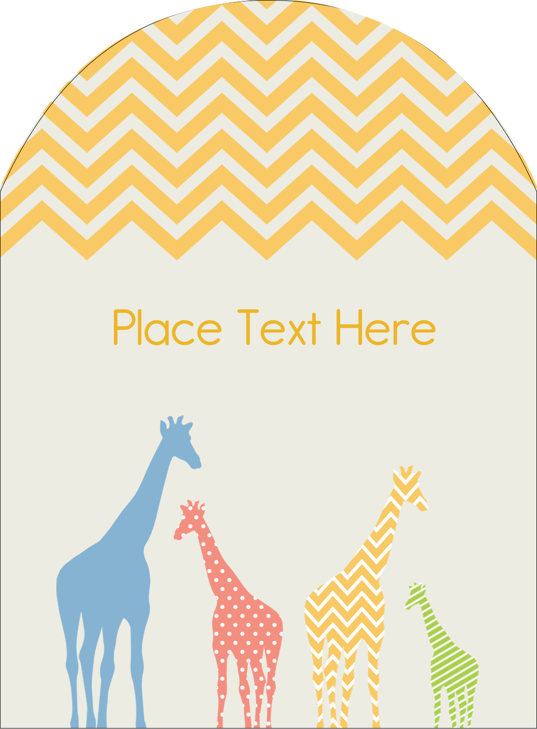 """4¾"""" x 3½"""" Arched Label - Giraffe Party"""