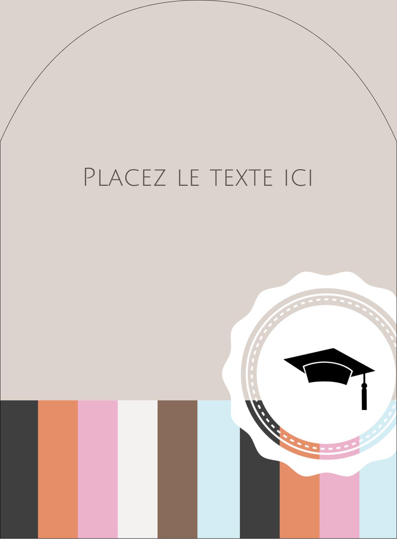 """4¾"""" x 3½"""" Étiquettes rectangulaires - Mortier de diplômé"""