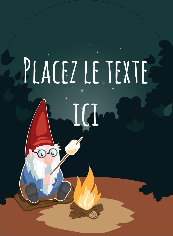 """4¾"""" x 3½"""" Étiquettes rectangulaires - Gnome en camping"""