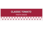 A white and red design with a patterned red tomato  background.