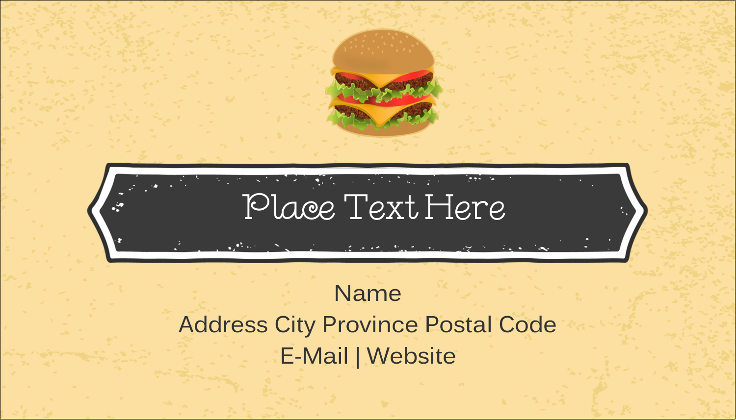 "2"" x 3½"" Business Card - Burger"