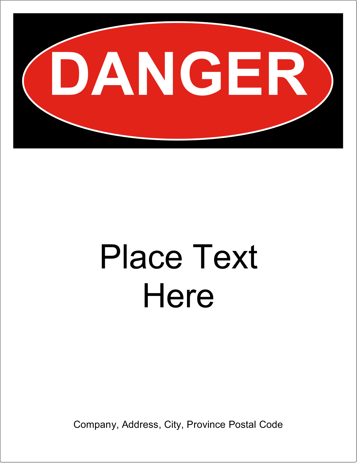 "8½"" x 11"" Industrial Label - Danger"