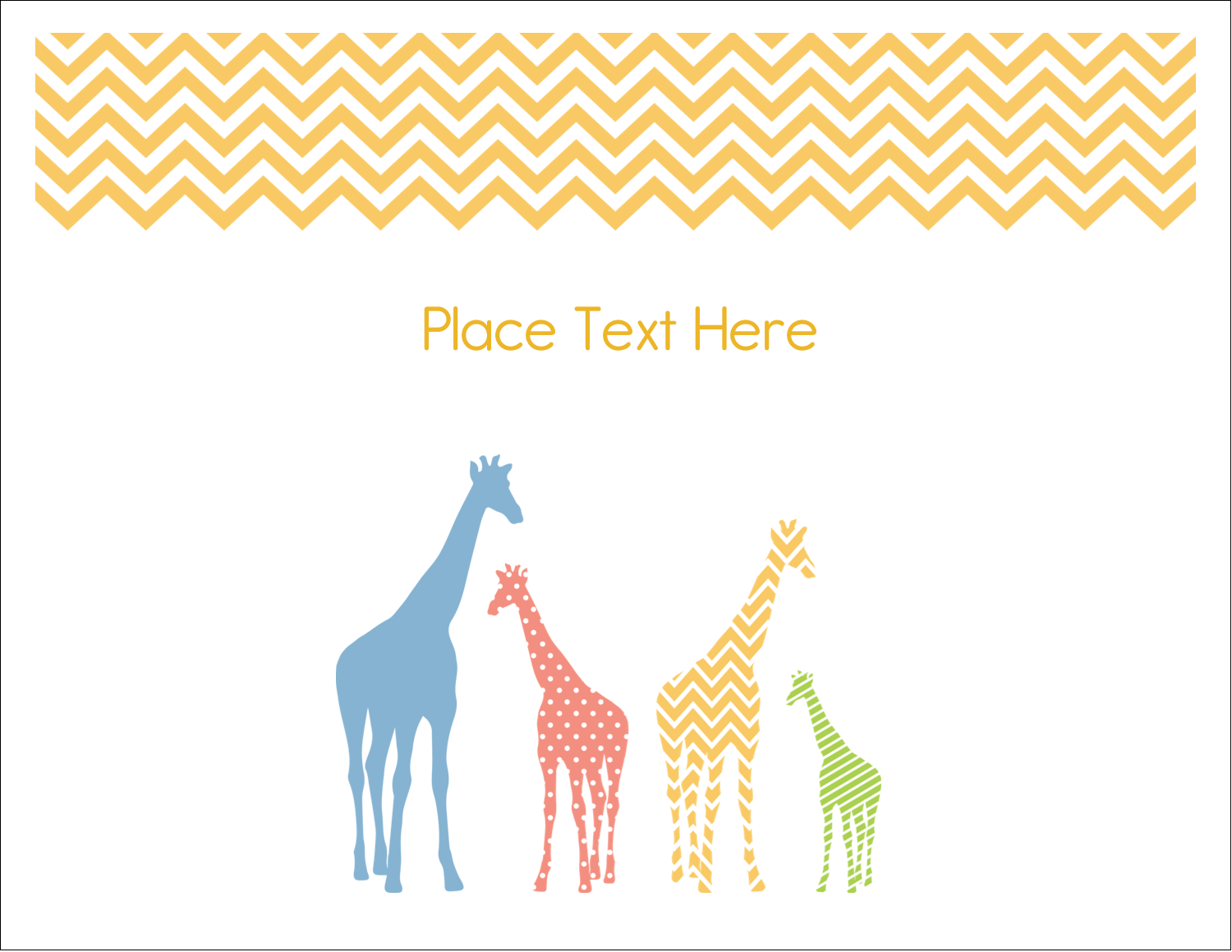 "5½"" x 4¼"" Note Card - Giraffe Party"