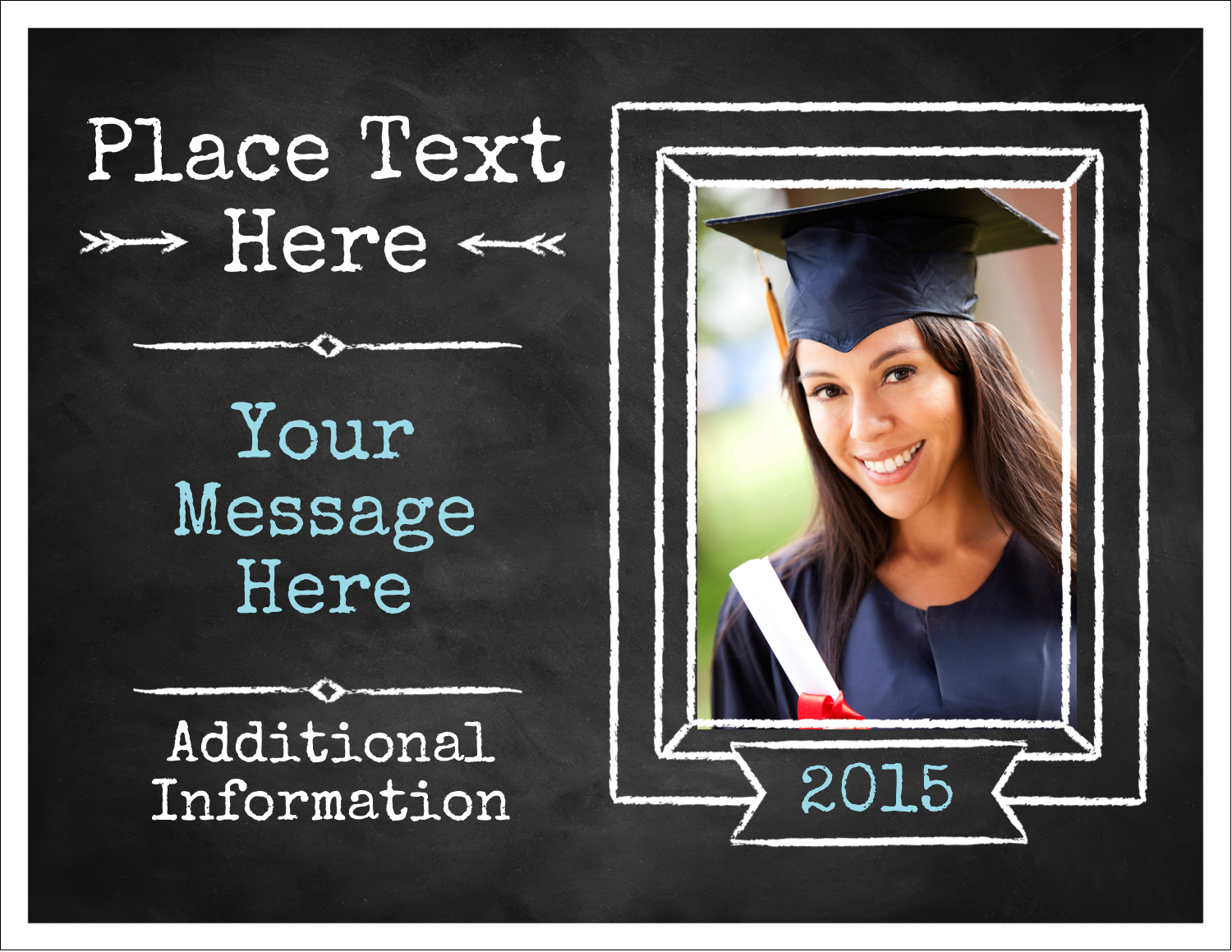 """5½"""" x 4¼"""" Note Card - Chalk Inspired Graduation"""