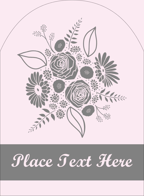 """4¾"""" x 3½"""" Arched Label - Floral Bouquet"""