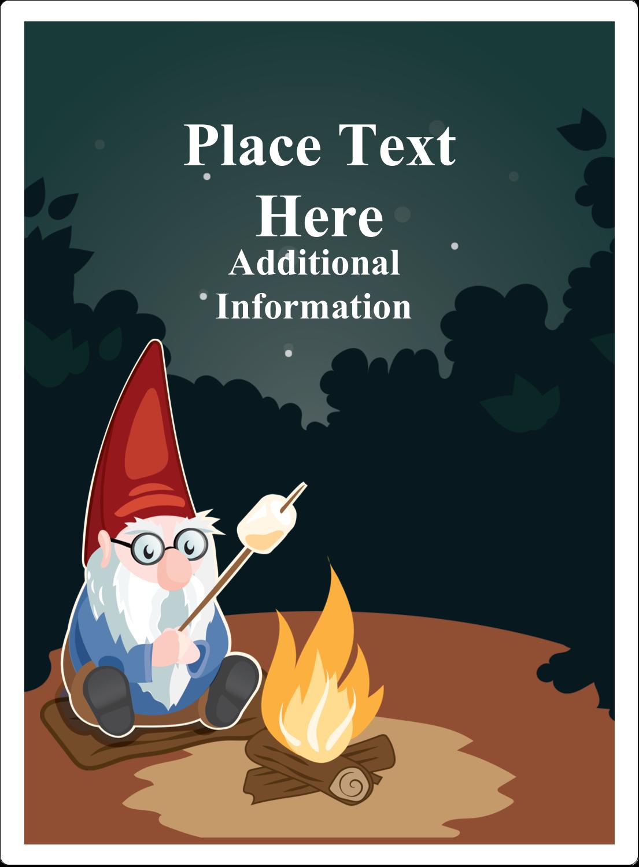 "4¾"" x 3½"" Rectangular Label - Gnome Camping"