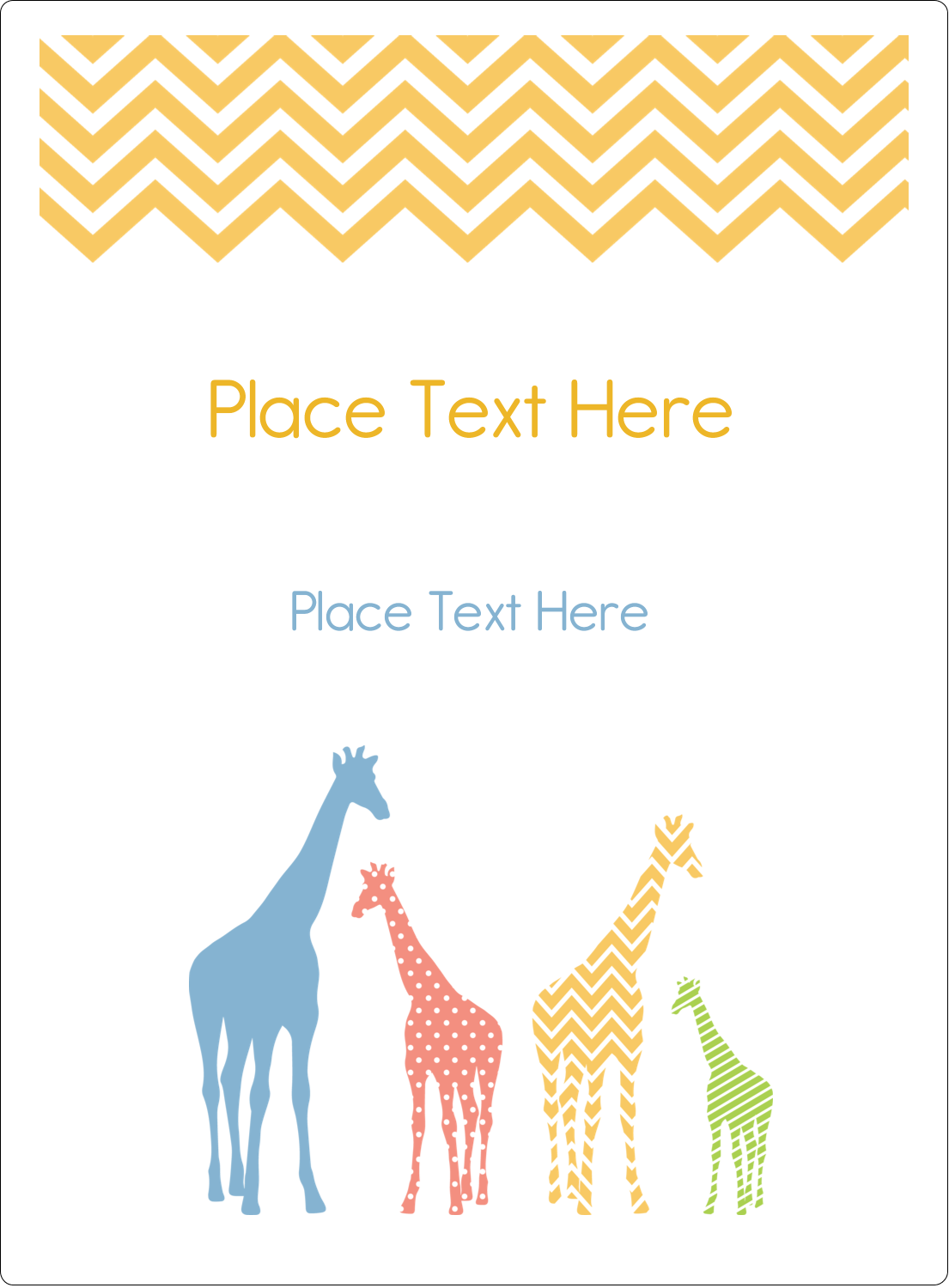 "4¾"" x 3½"" Rectangular Label - Giraffe Party"