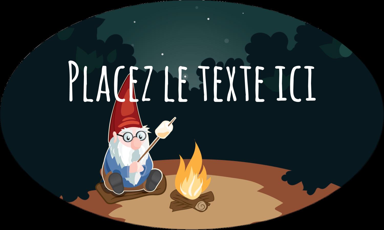 """1½"""" x 1½"""" Étiquettes carrées - Gnome en camping"""