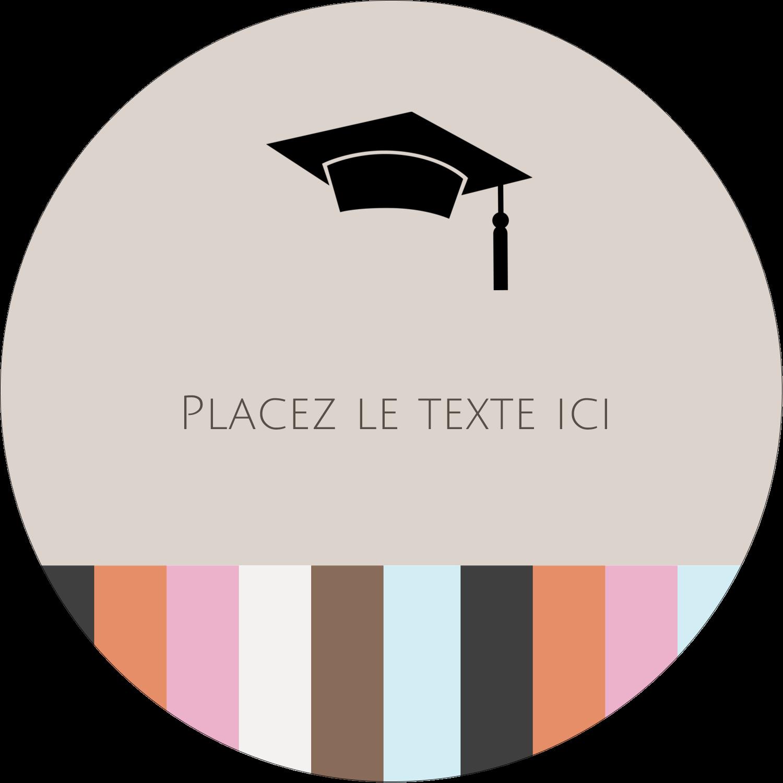 """3"""" Diameter Étiquettes rondes - Mortier de diplômé"""