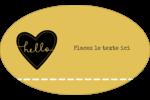 Cœur brodé hello Étiquettes carrées - gabarit prédéfini. <br/>Utilisez notre logiciel Avery Design & Print Online pour personnaliser facilement la conception.