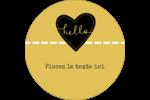 Cœur brodé hello Étiquettes arrondies - gabarit prédéfini. <br/>Utilisez notre logiciel Avery Design & Print Online pour personnaliser facilement la conception.