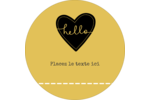 Cœur brodé hello Étiquettes rondes - gabarit prédéfini. <br/>Utilisez notre logiciel Avery Design & Print Online pour personnaliser facilement la conception.