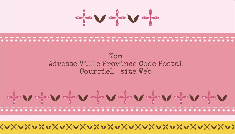 """2"""" x 3½"""" Carte d'affaire - Fleurs roses géométriques"""