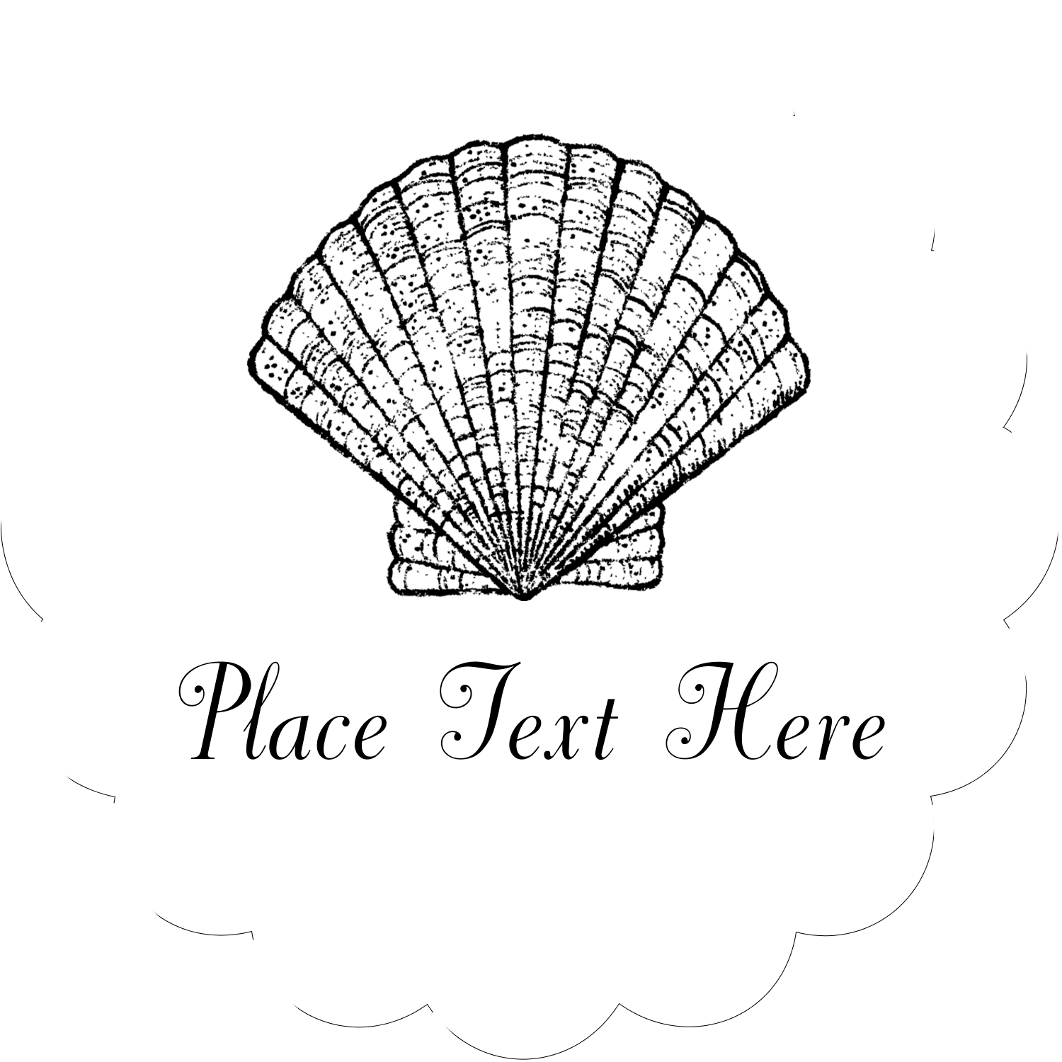 "2½"" Scallop Labels - Beach"