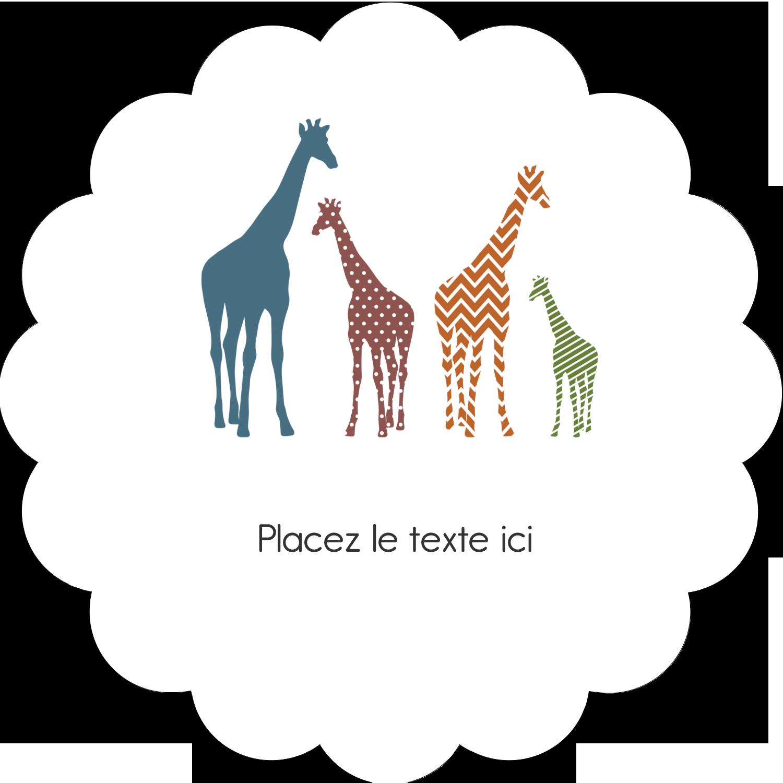"""2"""" Diameter Étiquettes festonnées - Girafe en fête"""