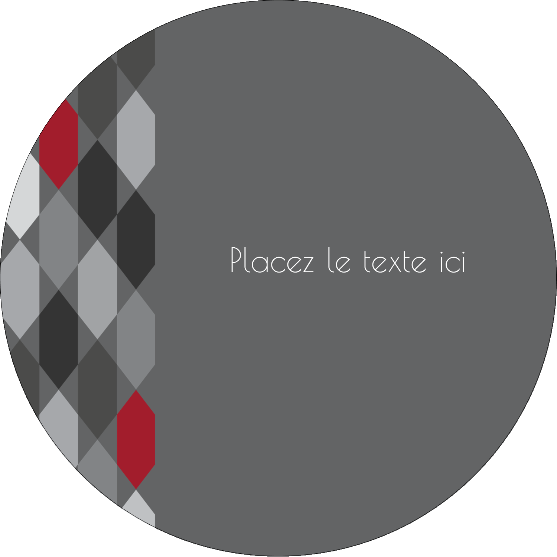 """3"""" Diameter Étiquettes rondes - Hexagone rouge"""