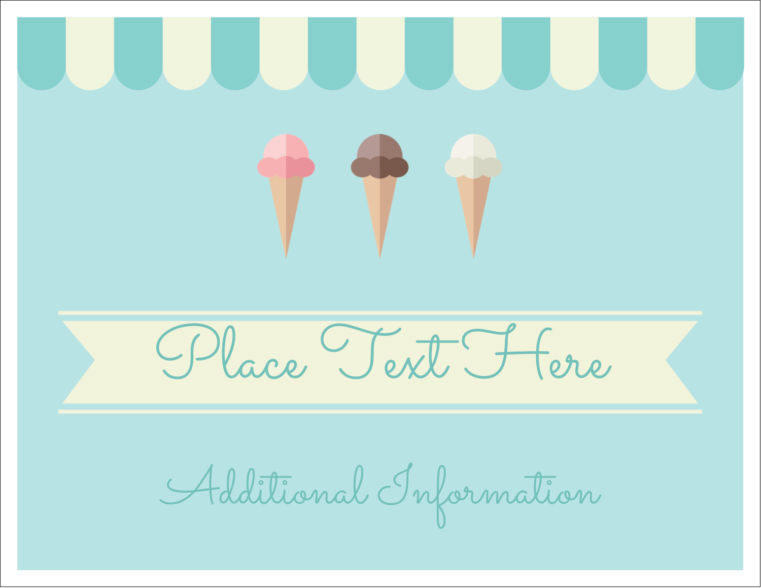 "5½"" x 4¼"" Note Card - Ice Cream Cart"