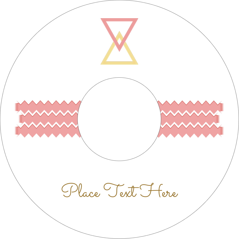 "4.65"" CD-DVD Label - Letterpress Modern Triangles"