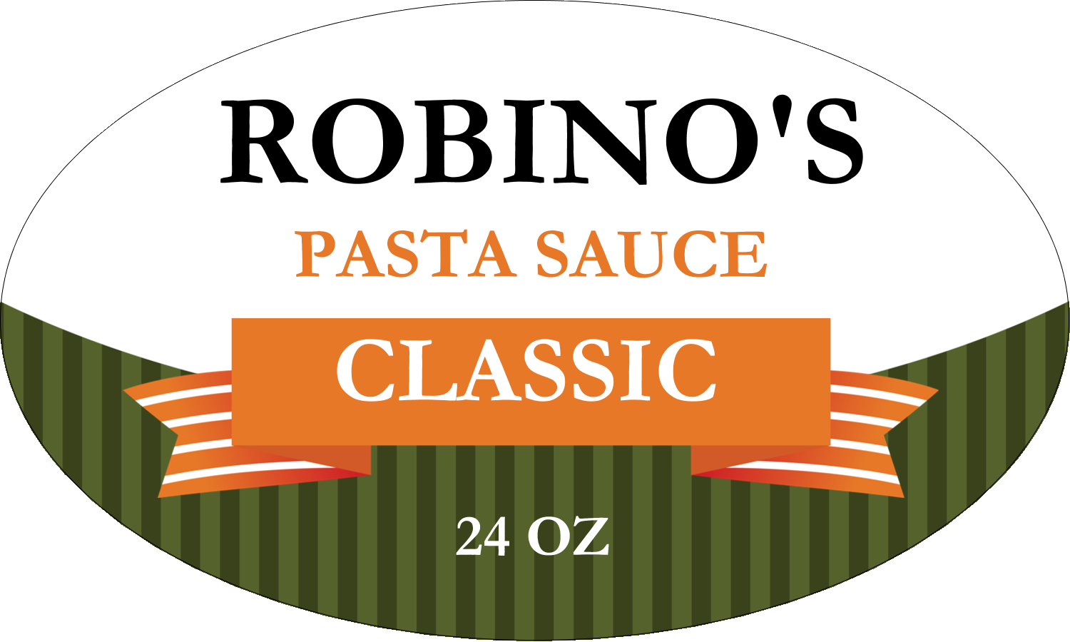 "1½"" x 2½"" Oval Glossy Label - Classic Italian Pasta Sauce"
