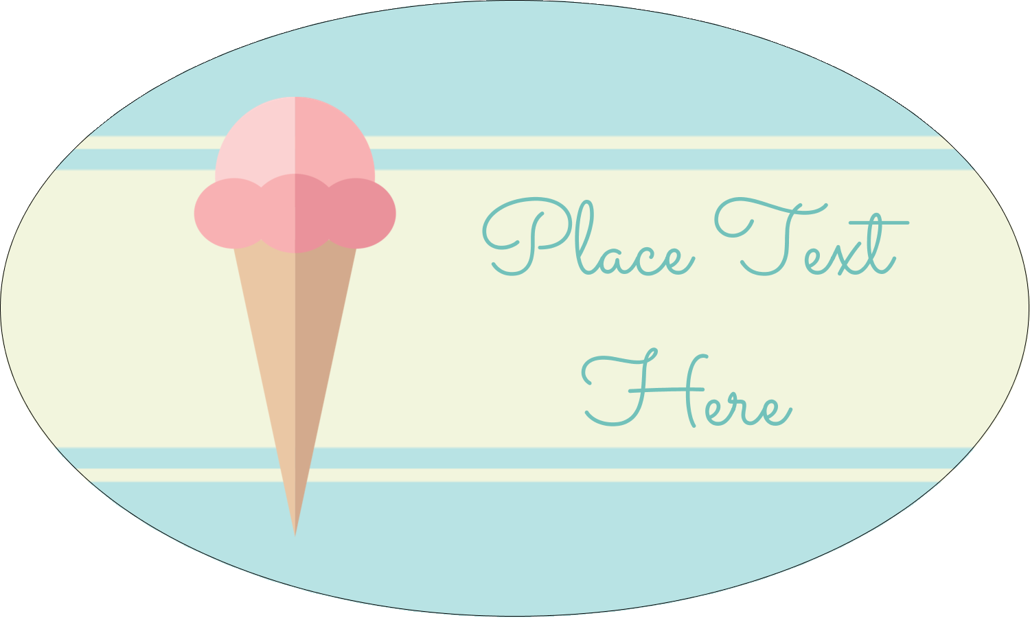 "1½"" x 2½"" Oval Glossy Label - Ice Cream Cart"