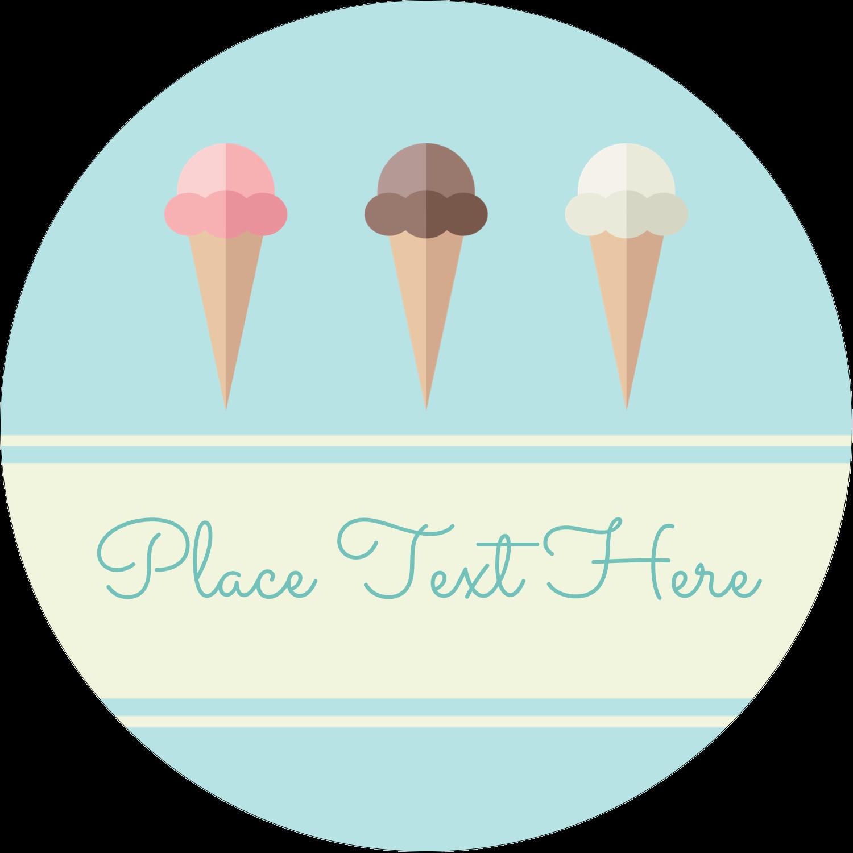 """2"""" Round Label - Ice Cream Cart"""