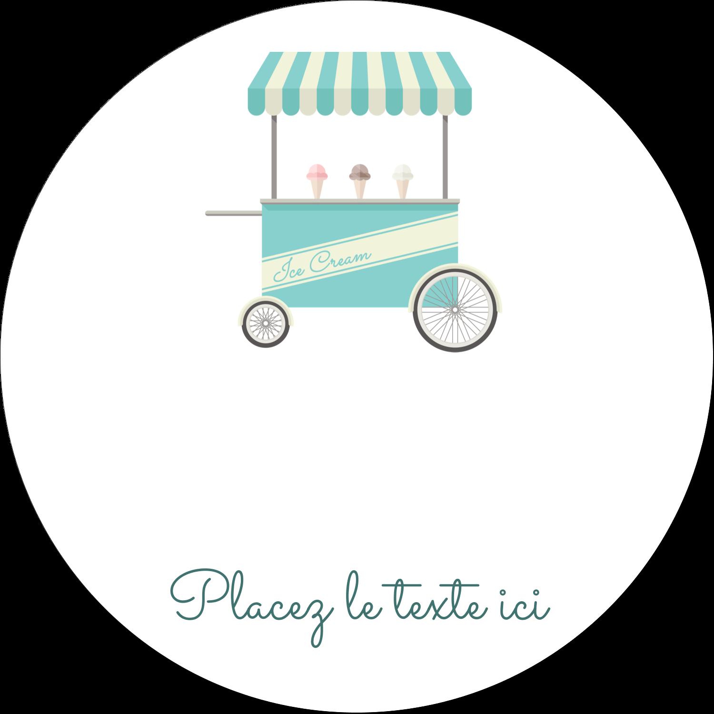 """3"""" x 2¼"""" Étiquettes arrondies - Chariot à crème glacée"""