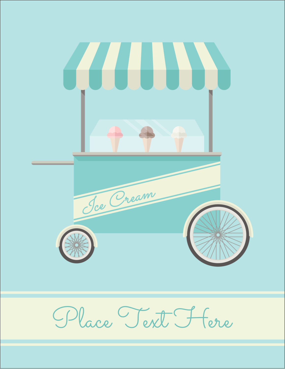 "4¼"" x 5½"" Postcard - Ice Cream Cart"