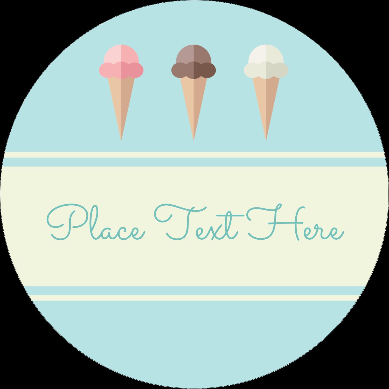 """3"""" Round Label - Ice Cream Cart"""