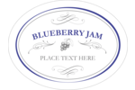 Create your own personalized jam labels with calligraphy swirls and designs of blueberries