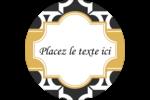 Tuile marocaine noire Étiquettes arrondies - gabarit prédéfini. <br/>Utilisez notre logiciel Avery Design & Print Online pour personnaliser facilement la conception.